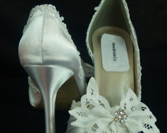 Brides White Wedding Shoes Battenburg Lace Bow & Crystals,Satin Pump,Open Toe Heels, Modern Retro,Victorian,Great Gatsby, Old Hollywood,Deco