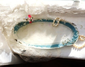 Blue Frosted Glass Dresser Tray, Satin Glass Pin Dish, Victorian Boudoir Tray, Antique Glass Vanity Dish