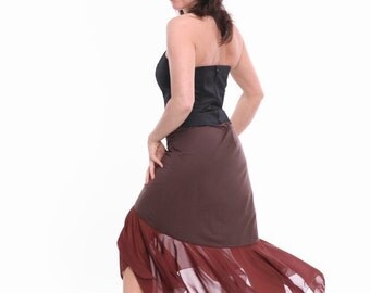 Tango Skirt in Flamenco Style, Tango Clothes in Brown, Tango Dresses Alternative, Custom Size Tango Clothes,  Jersey Tango Clothing