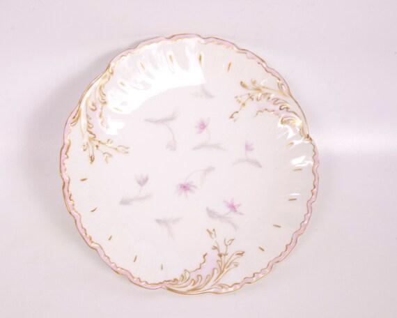 """Vintage M R Limoges Plate Lavender Pink France Gold Trim 7 1/4"""" Hand Painted Signed"""