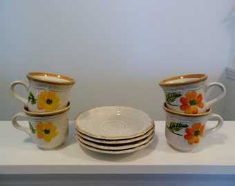 Mikasa Garden Club Summer Garden Cups and Saucers Set of Four Tea Cups Made in Japan