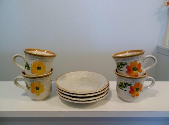 Mikasa Garden Club Summer Garden Cups And Saucers Set Of Four