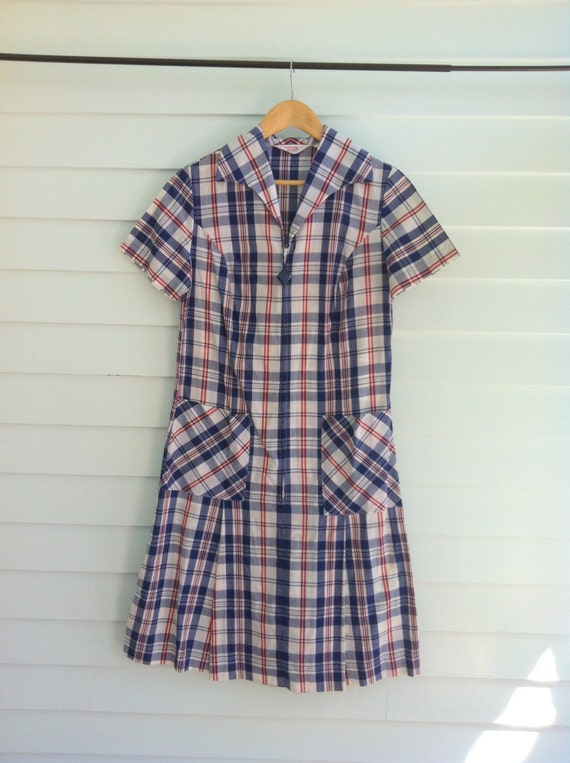 Vintage Plaid Dress with Zipper Front, Red White and Blue Plaid Scooter Dress