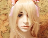 Orange BROWN inner PINK 9 cm Kitty Cat Ear FOX ear Hair Clip Bell set Cosplay Costumes Party