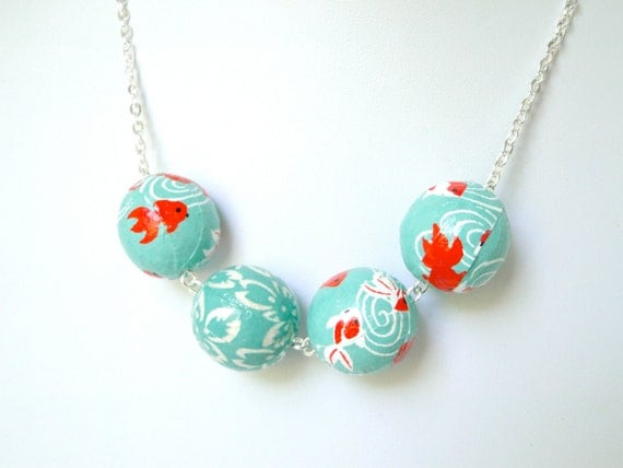 Items similar to turquoise and red koi fish necklace for Koi fish beads
