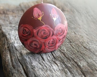 Hand Painted Candle Discus - Painted Red Roses on Burgundy Candle - Christmas Gift - Home Decor -  Currant Candles - Cherry Red Candles