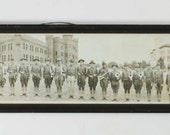 Antique Panorama Photograph of Army Band Musicians at Buffalo, NY Armory c. 1915