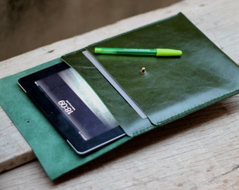iPad case/ Green leaf genuine leather