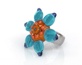 Sculptural Flower Interchangeable Lampwork Glass Ring or Pendant Topper