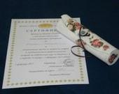 Certificate Holder Clutch Box, SHABBY CHIC ROSES Cream, Ivory White Customizable
