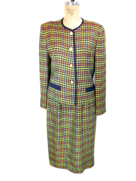 S A L E 1980s Doncaster Houndstooth Skirt Suit / Office Fashion / Rainbow / Working Girl / Skirt Jacket / Womens Vintage Suit / Size 10/12