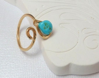 Sleeping Beauty Turquoise Cocktail Ring 14K Gold Filled Adjustable