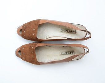 Vintage brown suede leather flatform peep toe sling back women stud sandals