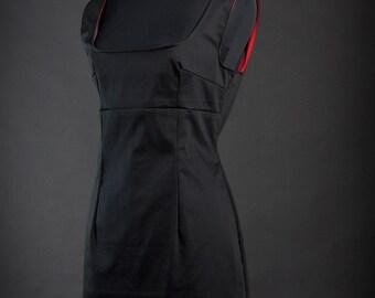 Black Red Midi Dress in Empire Shape