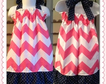 On SaLe NeW PINK CHEVRON DReSs Navy Polka Dots Toddler or Baby Girl 12m 18m 2T 3T 4T Gift Baby Shower Summer Spring Kids