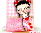 Mixed media Original Whimsical  Doll, Lottie Popjes