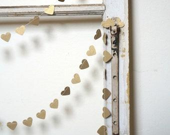 Heart of Gold Paper Garland Antique Gold Wedding Bridal Shower Birthday Baby Nursery Decor Decoration