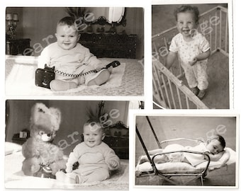 Baby photo collection from various kids and periods. Four vintage real photos. Super cute babies