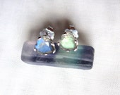 Labradorite Stud Earrings - Labradorite in Sterling Silver - Blue and Green 5x5mm Hearts
