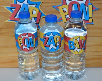 Superhero Water Bottle Wrappers - Superhero Party Collection INSTANT DOWNLOAD