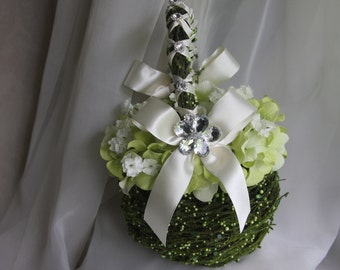 flower girl basket with  green hydrangea petals and  mirrored brooches for wedding and keepsake
