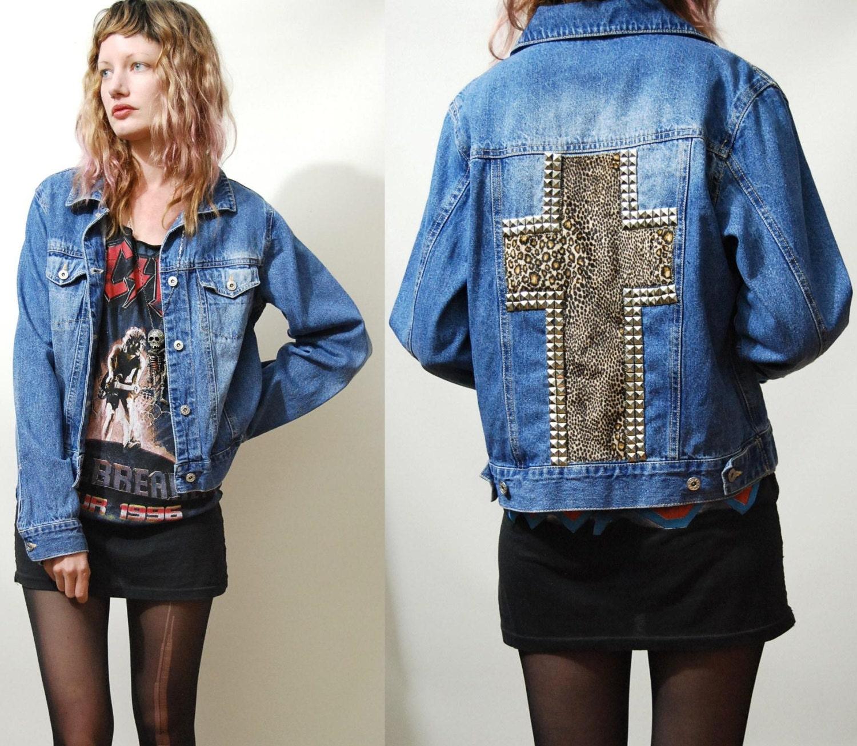 90s Vintage Denim Jacket Studded Leopard Print Cross Crucifix