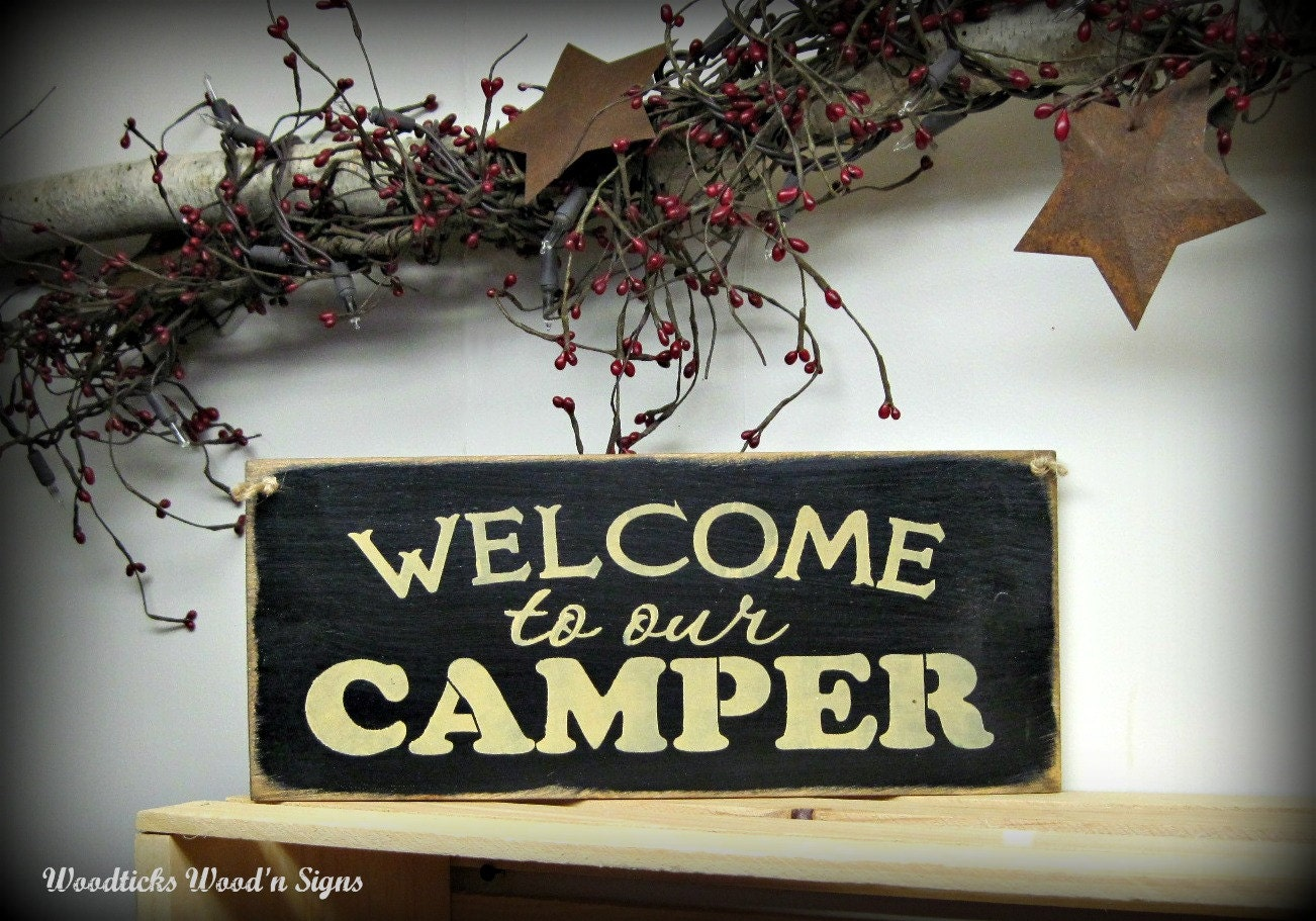 Wooden Camper Sign Welcome To Our Camper Campsite Decor