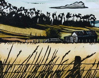 Linocut Print, Hand Painted - Tasmanian Landscape - Shelly Beach Road
