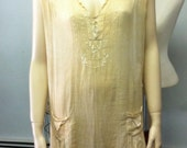 RESERVED Early 1920s Embroidered Pintucked Dropped Waist Sheer Dress or Slip Bust 40 Waist 38