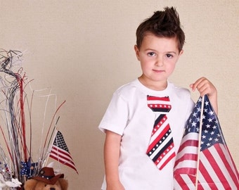 Boys 4th of July tie shirt or onesie, red, white and blue, patriotic, American pride