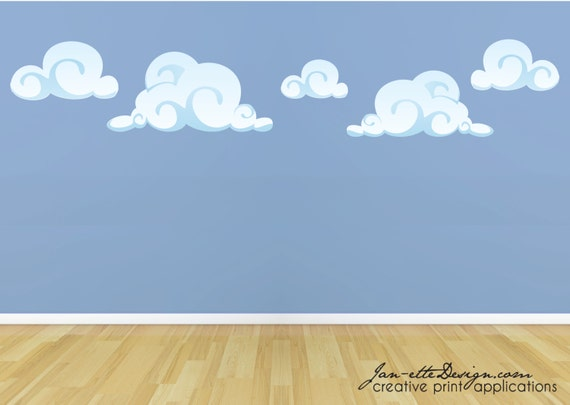 kids cloud wall decalsremovable repositionable fabric wall cloud wall stickers by little chip notonthehighstreet com