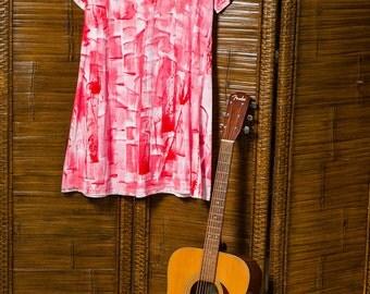 Red beach dress - cotton cover up - cruise resort dress - plus size dress - hand painted dress -  hawaii dress -  A line dress - Petrina