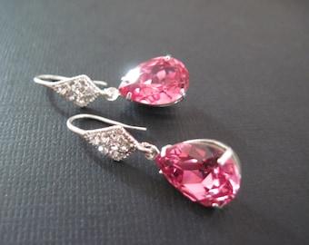 Pink Swarovski  Earrings/ Bridesmaid Earrings/Rose Crystal Earrings/Swarovski Earrings/ Crystal Earrings/Bridesmaid Jewelry/ Wedding Jewelry