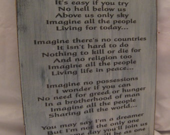 """Rustic John Lennon Sign with the lyrics from """"Imagine"""" Distressed and Antiqued"""
