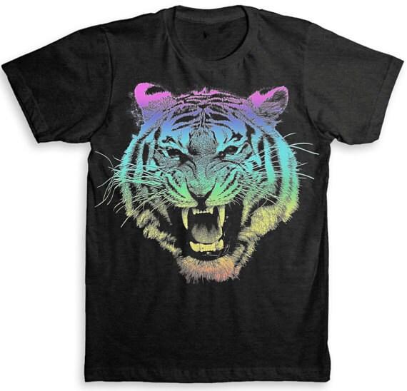 Tiger T Shirt 80 39 S Rainbow Design American By Strangelovetees