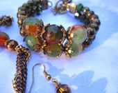 Antique Gold and Copper Faceted Green Brown Agate Necklace Bracelet Earrings Set Your Choice of Length