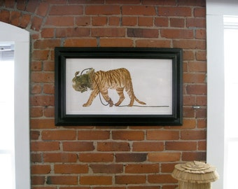 "Liger  Tiger in Scuba Helmet Print large 30""x14"" fine art painting watercolor and ink"