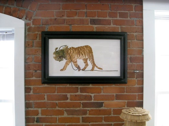 """Liger  Tiger in Scuba Helmet Print large 32""""x14"""" fine art painting watercolor and ink"""