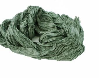Rosemary - grey-green, grey, green silk ruffled scarf