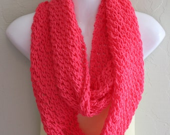 Hot Pink Infinity Scarf. Neon Pink Infinity Scarf. Hand Knitted Scarf. Bright Spring Scarves. Light weight scarves. Women's Scarves.