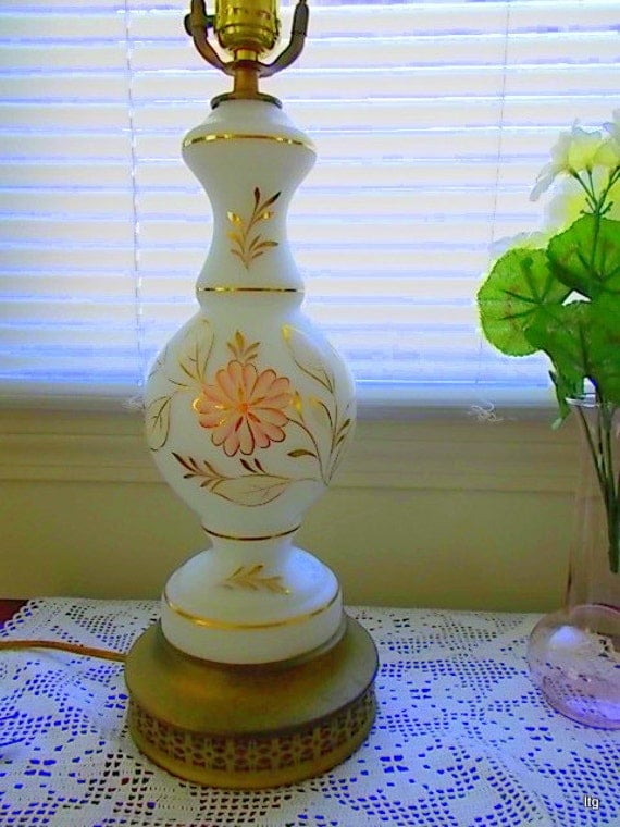 Sale Vintage Hand Painted Satin Milk Glass Table Lamp