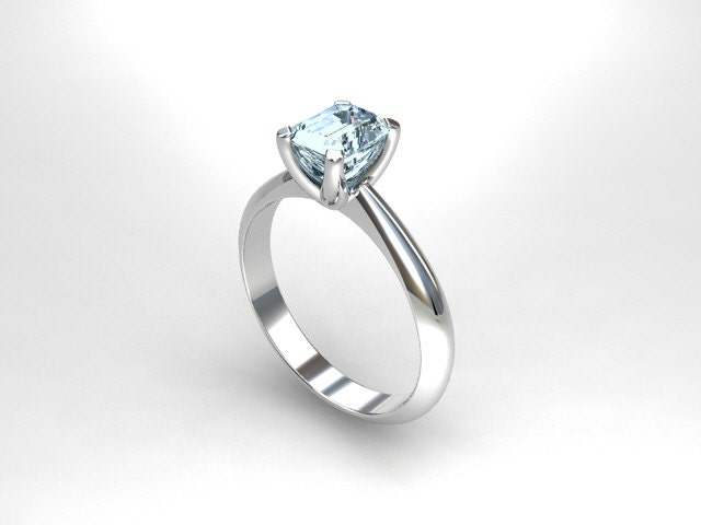 aquamarine ring engagement ring white gold solitaire blue