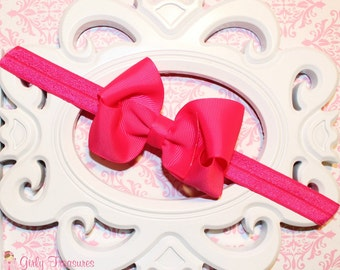 Shocking Pink Bow Headband. Hot Pink Baby Headband.  Baby Headband. Girl Headband. Disney Headband. Princess Red Bow.