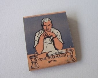 VINTAGE drug store pharmacist matchbook  / pharmacy drugstore collectible