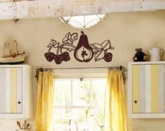 Kitchen Fruit Valance Strawberry Pear Vinyl Wall Graphics Art Decal 24wx13h