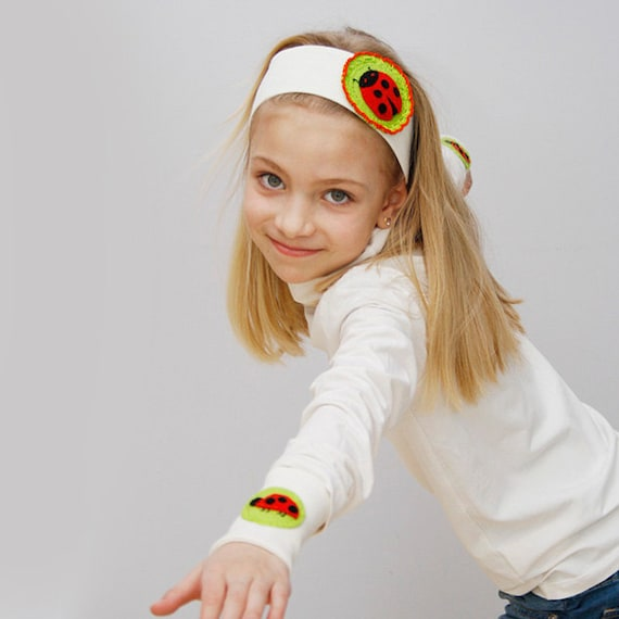 SALE 50% OFF Wide fabric headband wrist cuff set for girls White thick earwarmer White headband Ladybug ladybird headband