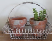 Distressed Metal Flower Basket with Handle & 2 Clay Pots Home or Wedding Decor Wall Decor