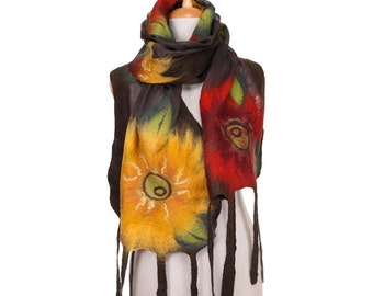 SALE!!!  nuno felted scarf autumn red yellow flowers leaves silk felt wool nuno felted scarf designer nunofelted shawl felted wool eco scarf