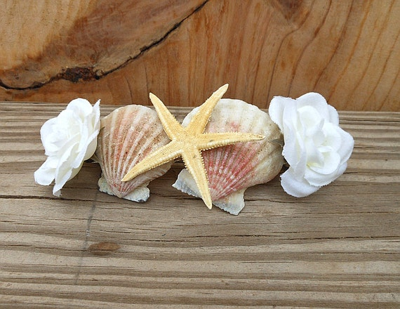 Starfish White Rose Hair Barrette - Handmade Seashell Hair Accessory - Scallops and Starfish and White Rose Fabric Flower - Wedding Inspired