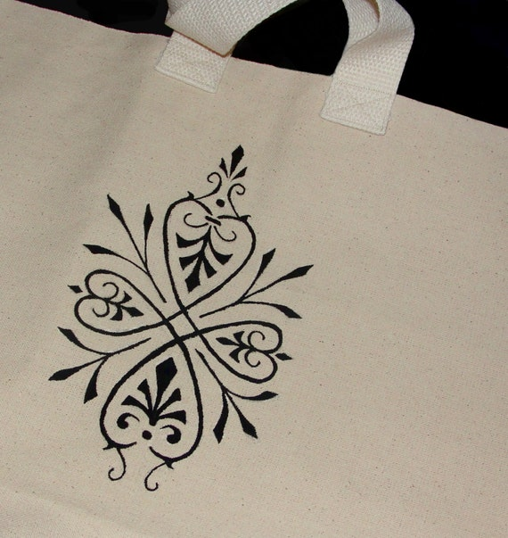 Hand Painted Bag - Large Grocery and Shopping Tote